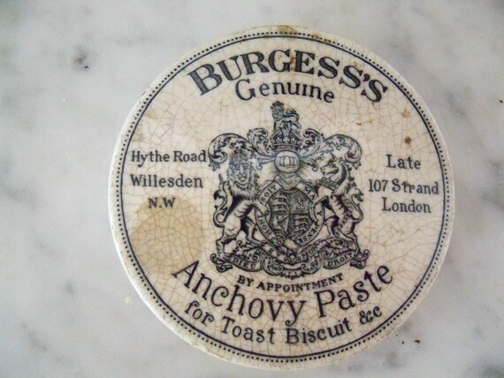 RESERVED until 2/6/15 Victorian Anchovy Paste Pot LID, Cotswolds, England