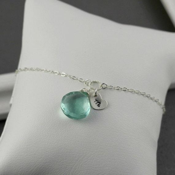 Personalized Bracelet, Monogram Bracelet, Hand Stamped Initial Heart, Sea Green Quartz, Sterling Silver Mothers Day Gift, Birthstone, Brida