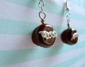 Chocolate Hostess Cupcake Earrings