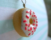 Iced Doughnut with Pink Sprinkles Necklace