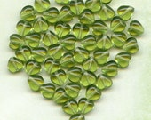 Baby Olive Green Heart Beads
