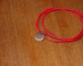 Red Bracelet with Custom Charm