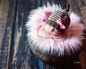 SALE - Soft Pink, Cozy, Cuddly Faux Fur Nest - Perfect Newborn Photography Prop - Plush Long Pile