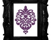 damask purple cross stitch pattern floral pdf