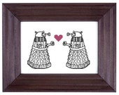 Daleks in Love cross stitch pattern
