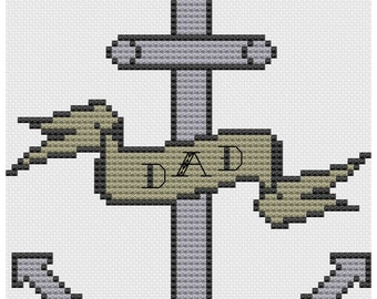 Dad Anchor with banner tattoo cross stitch pattern