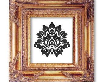 Damask black on white cross stitch pattern pdf