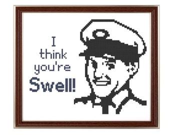 You're Swell cross stitch pattern milkman retro guy pdf