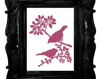 Two Little Pink Birds on flowered branches  Cross Stitch Pattern .pdf