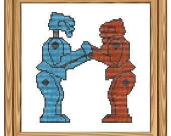 Cross Stitch Pattern Rock em Sock em Robots pdf file