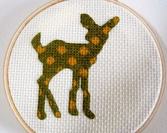 cross stitch pattern Fawn Polka Dots deer doe