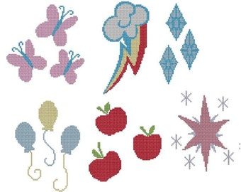 Cross Stitch Patterns set of 6- Mane 6 Cutie Marks: discount 6 for the price of 4