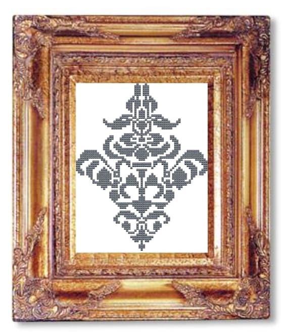 Damask gray cross stitch pattern