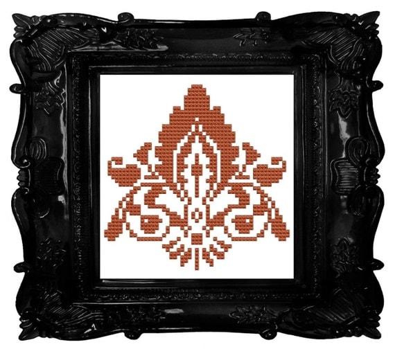 Damask orange cross stitch pattern pdf