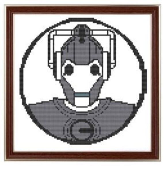 Cyberman cross stitch pattern pdf dr who