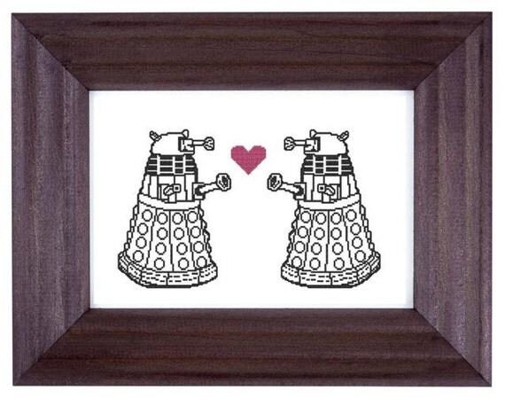 cross stitch pattern Doctor Who Daleks in Love