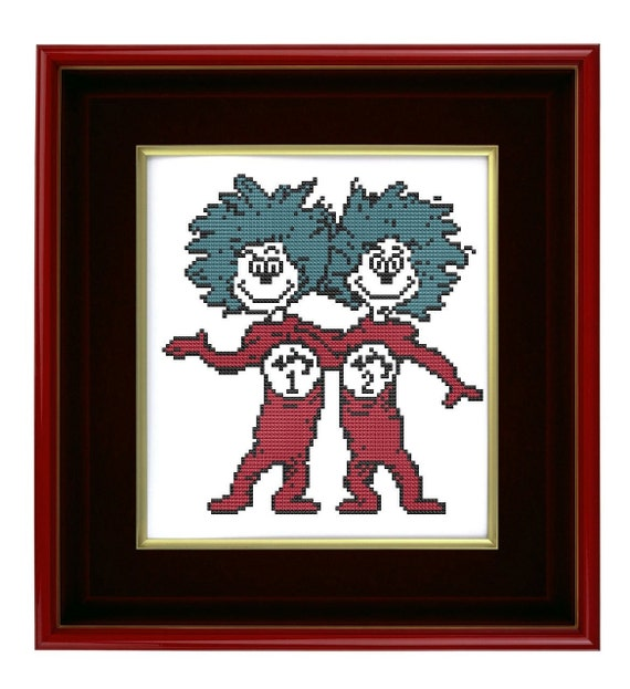 Dr Seuss inspired Thing 1 Thing 2 cross stitch pattern pdf
