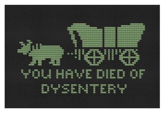 cross stitch pattern Died on the Oregon Trail