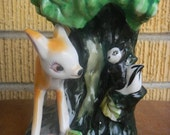 LAST CHANCE SALE Vintage Deer and Skunk Planter for your home or garden