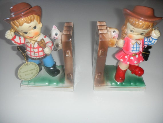 1940's bookends cowgirl and boy Reserved for Nicole