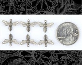 Tiny Silver Bee or Fly Charms Set of Six S:C41
