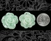 Mint Green Rose Cameo Cabochons 29mm with holes - Set of Two   Flwr8