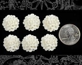Sparkly White Zinnia Cameo Cabochons 20mm - Set of Six  Flwr45