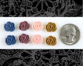 Four Color Rose Cameo Cabochons 13x11mm Set of Eight, 2 of each color: blue peach brown plum Flwr55