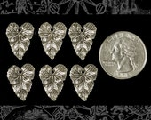 Silver Plated Brass Heart Shaped Leaf Charms Set of 6 S:C49
