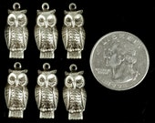 Silver Plated Brass Owl Charms - Set of Six S-C24