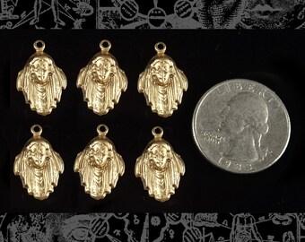 Six Raw Brass Gypsy Charms  *B-C11