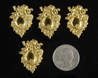 Brass Cherubs Playing on Shield Brass Embellishment Set of Four  *B-C18