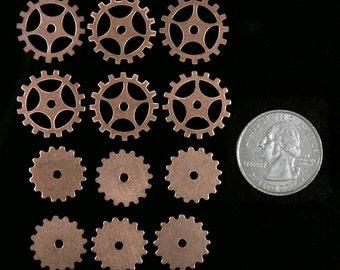 Steampunk Copper Wheels Gears Two Types 6 of each XXX  * C-CGSet2