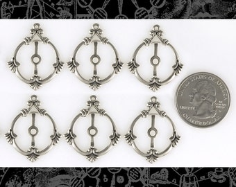 Silver Plated Round Filigree Mount Connectors Set of Six  *S-2C07