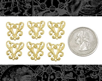 Raw Brass Ornate Filigree Heart Connectors Set of Six  *B-3C04
