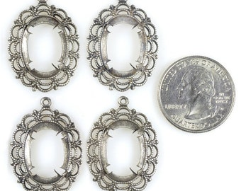 Lacy Silver Cameo Frames for 13x18mm  - Set of Four  * S-F9