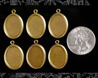 Vintage Simple Raw Brass Cameo Frames for 13x18mm  - Set of Six  B-F11