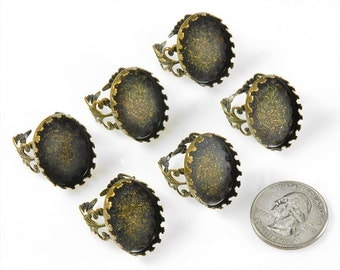 Six Antique Bronze Filigree Ring Blanks with Oval 24x18mm Settings     *RING9