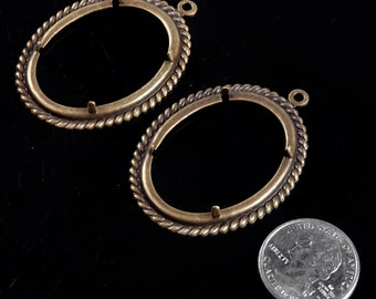 30 x 40mm Antique Brass Twisted Rope Cameo Frames with Prongs - Set of Two  AB-F25