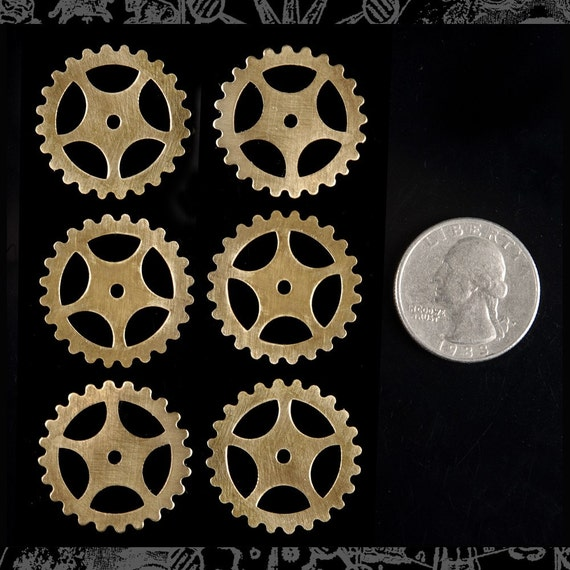 Steampunk Raw Brass Wheels Gears  *B-G01