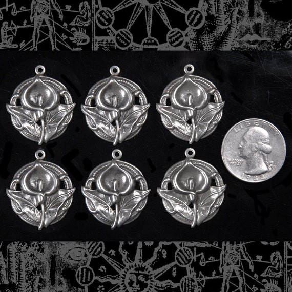 Six Round Silver Plated Brass Lily Charms  *S-C14