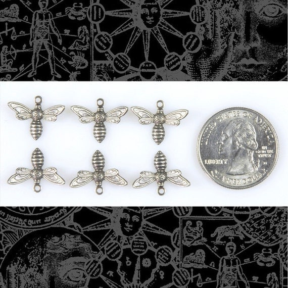 Tiny Silver Bee or Fly Charms Set of Six * S-C41