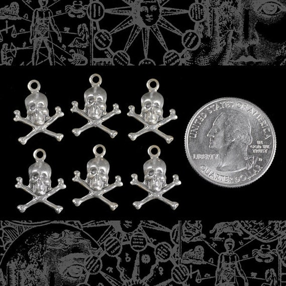 Silver Skull and Crossbone Charms Stampings Set of Six S-C26