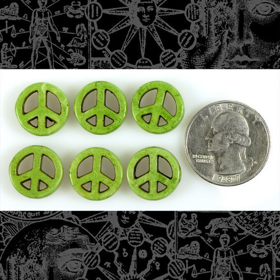 Apple Green 15mm Magnesite Peace Sign Beads - Set of 6 PB1