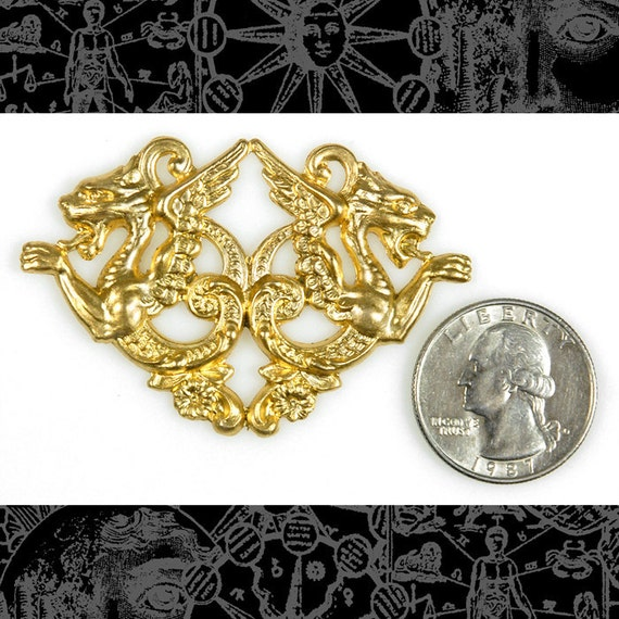 Raw Brass Vintage Double Winged Griffin Pendant, One    B-P40