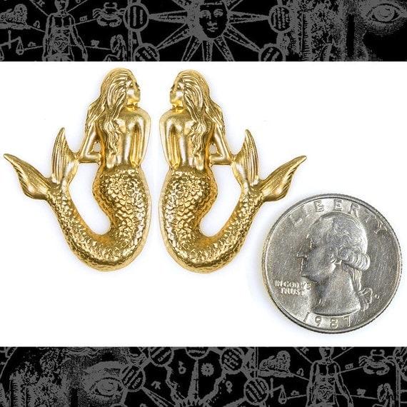 Raw Brass Shy Mermaid Pair B-P42