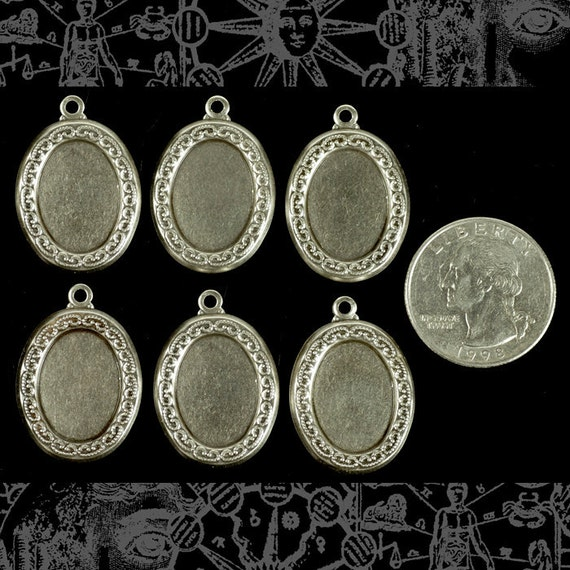 Vintage Silver Plated Brass Lace Edged Cameo Frames for 13x18mm  - Set of Six  S:F17 xxx