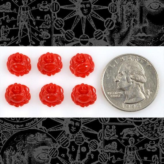 Red Mini Rose Cameo Cabochons 10mm - Set of Six  * Flwr73