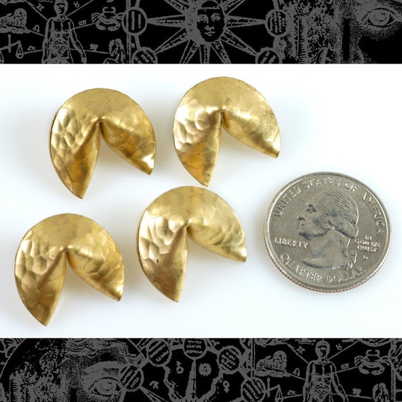Raw Brass Fortune Cookie Pendants, Set of Four  B-P50