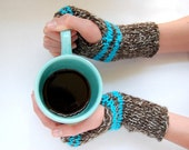Knit Stripe Wrist Warmers - Brown and Turquoise